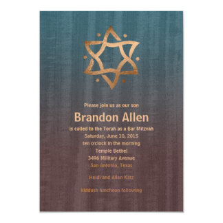Stylish Bar Mitzvah Brown and Teal Copper Star 13 Cm X 18 Cm Invitation Card