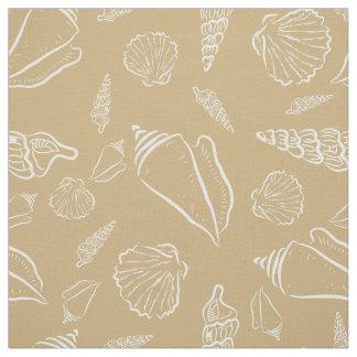 Stylish Beach Sand Sea Shells Pattern Fabric