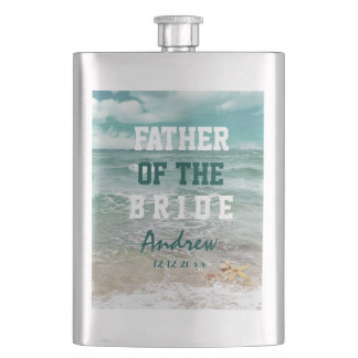 Stylish Beach Starfish FATHER OF THE BRIDE Hip Flask