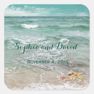 Stylish Beach Starfish Wedding Custom Square Sticker