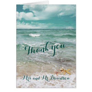 Stylish Beach Starfish Wedding THANK YOU Card