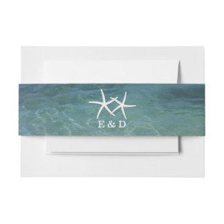 Stylish Beach Theme Pair of Starfish Invitation Belly Band