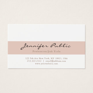 Stylish Beige White Modern Professional Simple Business Card