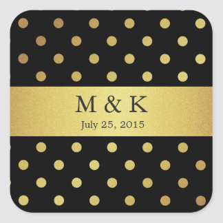 Stylish Black and Gold Polka Dots Monogram Square Sticker