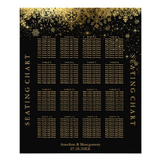 Stylish Black and Gold Snowflakes - Seating Chart Photo Print