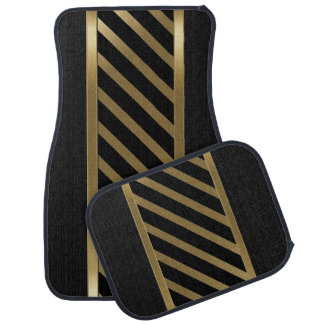 Stylish Black and Gold Stripe Car Mat