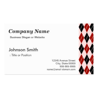 Stylish Black and Red Argyle Plaid Pattern Business Cards