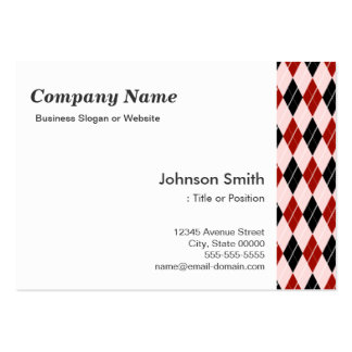 Stylish Black and Red Argyle Plaid Pattern Pack Of Chubby Business Cards