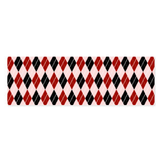 Stylish Black and Red Argyle Plaid Pattern Pack Of Skinny Business Cards