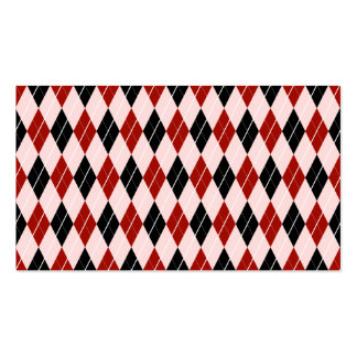 Stylish Black and Red Argyle Plaid Pattern Pack Of Standard Business Cards