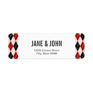Stylish Black and Red Argyle Plaid Pattern Return Address Label