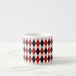 Stylish Black and Red Argyle Plaid Pattern Espresso Cup