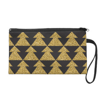 Stylish Black and Sparkling Gold Christmas Tree Wristlet
