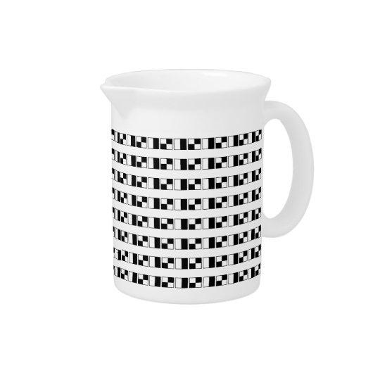 Stylish Black and White Blocks Drink Pitcher