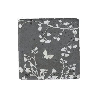 Stylish Black and White Butterfly in the Wild Stone Magnet