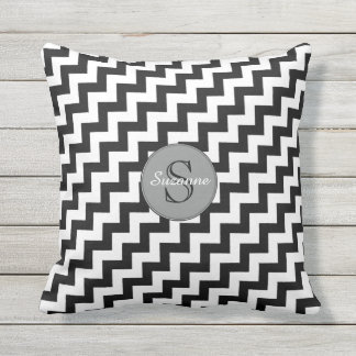 stylish black and white chevron stripes outdoor cushion