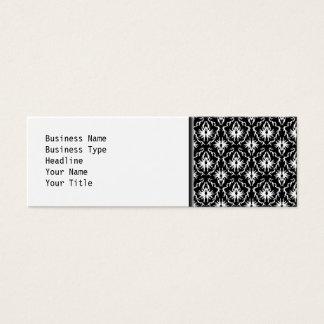 Stylish Black and White Damask Pattern. Mini Business Card
