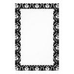 Stylish Black and White Damask Pattern. Personalized Stationery