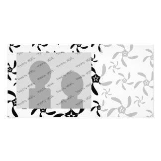 Stylish Black and White Flowers Pattern. Customised Photo Card