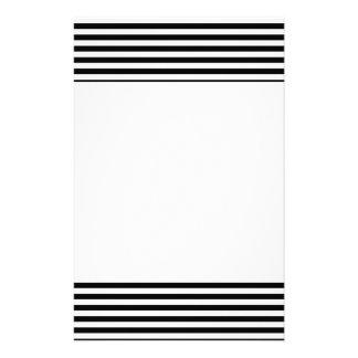 Stylish Black And White Horizontal Stripes Custom Stationery