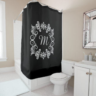 Stylish Black And White Monogram Initial Shower Curtain