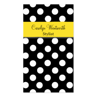Stylish Black and White Polka Dot Business Card