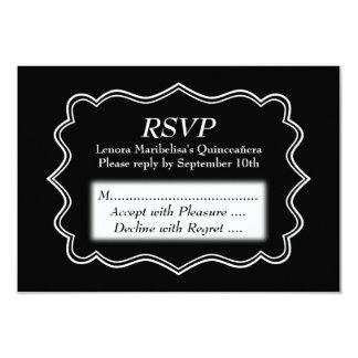 Stylish Black and White Quinceanera 9 Cm X 13 Cm Invitation Card