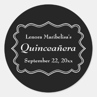 Stylish Black and White Quinceanera Round Sticker