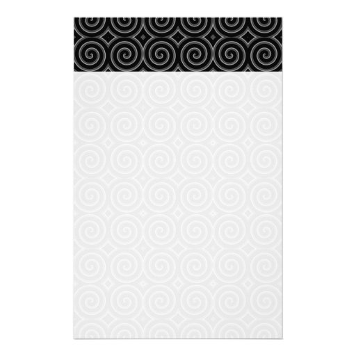 Stylish, black and white spiral design. personalized stationery