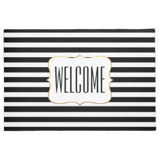 Stylish Black and White Striped Door Mat