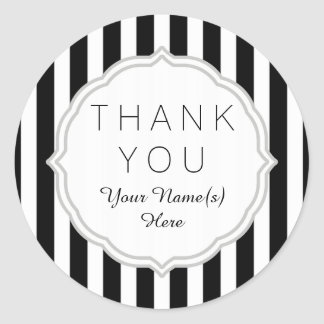 Stylish Black and White Stripes Pattern Thank You Round Sticker
