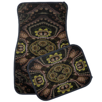 Stylish Black Copper Gold Set of 4 Car Mats