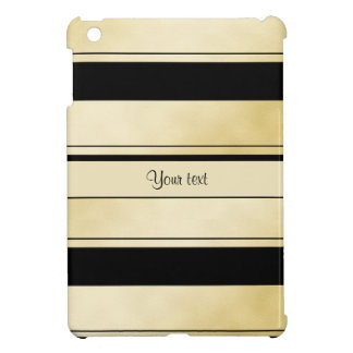 Stylish Black & Faux Gold Stripes iPad Mini Covers