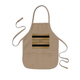 Stylish Black & Faux Gold Stripes Kids Apron