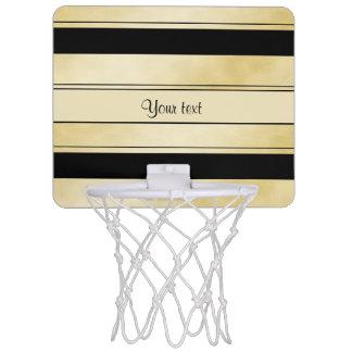 Stylish Black & Faux Gold Stripes Mini Basketball Hoop