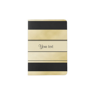 Stylish Black & Faux Gold Stripes Passport Holder