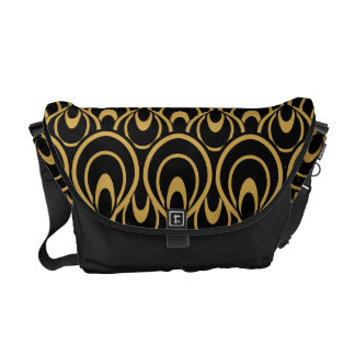 Stylish Black & Gold Art Deco Pattern Courier Bags