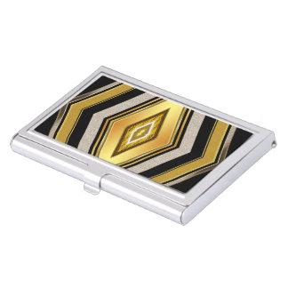 Stylish Black Gold Diamond Business Card Case