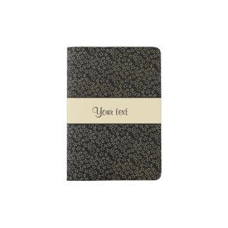 Stylish Black & Gold Foil Mini Stars Passport Holder