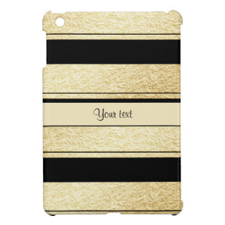 Stylish Black & Gold Foil Stripes Cover For The iPad Mini