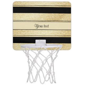 Stylish Black & Gold Foil Stripes Mini Basketball Hoop