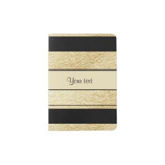 Stylish Black & Gold Foil Stripes Passport Holder