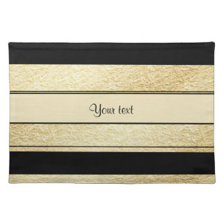 Stylish Black & Gold Foil Stripes Placemat