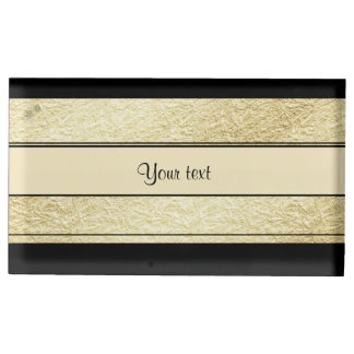 Stylish Black & Gold Foil Stripes Table Card Holders