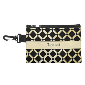Stylish Black & Gold Squares Accessory Bag