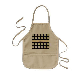 Stylish Black & Gold Squares Kids Apron