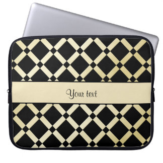 Stylish Black & Gold Squares Laptop Sleeve