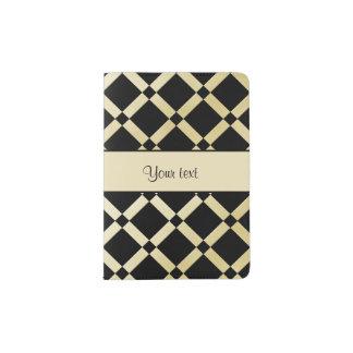 Stylish Black & Gold Squares Passport Holder