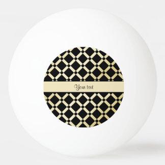 Stylish Black & Gold Squares Ping Pong Ball