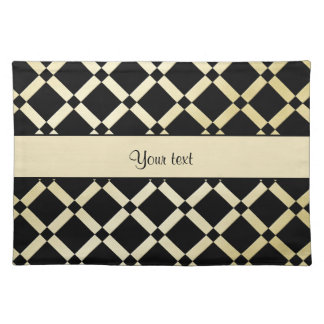 Stylish Black & Gold Squares Placemats